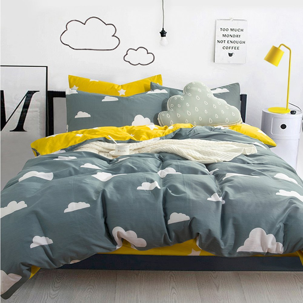 Vougemarket Green Cloud Duvet Cover Set Queen Lightweight Cotton Reversible Yellow Stars Printed Adults Bedding