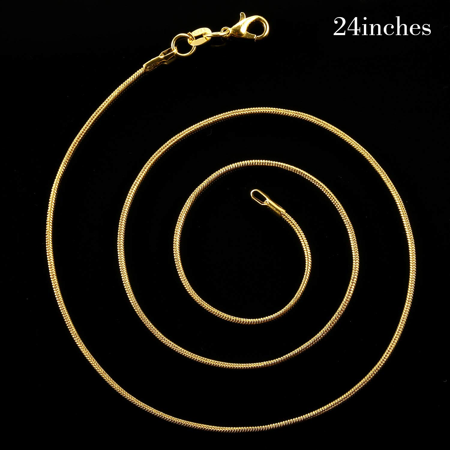18 inches TecUnite 24 Pack Gold Plated DIY Snake Chain Necklace with Clasp for Jewelry Making 1.2 mm