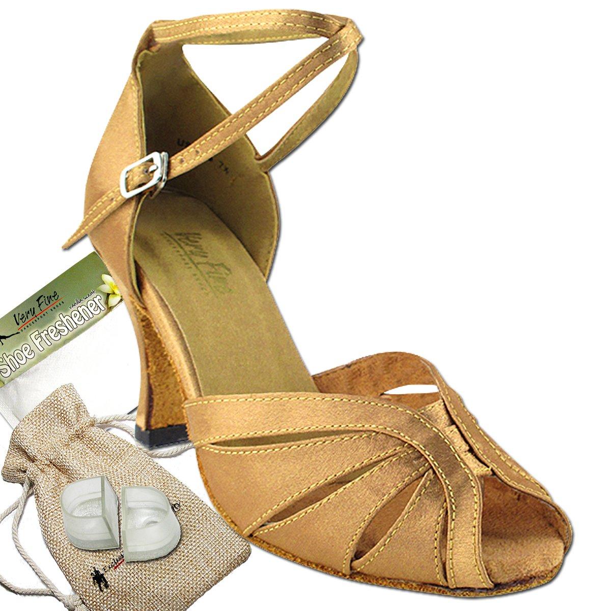 Women's Ballroom Dance Shoes Tango Wedding Salsa Dance Shoes Brown Satin 2713EB Comfortable - Very Fine 3'' Heel 5.5 M US [Bundle of 5]