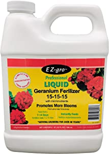 Geranium Fertilizer by EZ-GRO | 15-15-15 is a Plant Food for All Geranium Plants | This Plant Fertilizer is Both E Z to Mix and E Z to Use Because it is a Liquid Plant Food