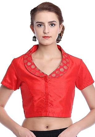 2a32f5c81e0119 Utsav Fashion Plain Art Silk Blouse in Red  Amazon.in  Clothing ...