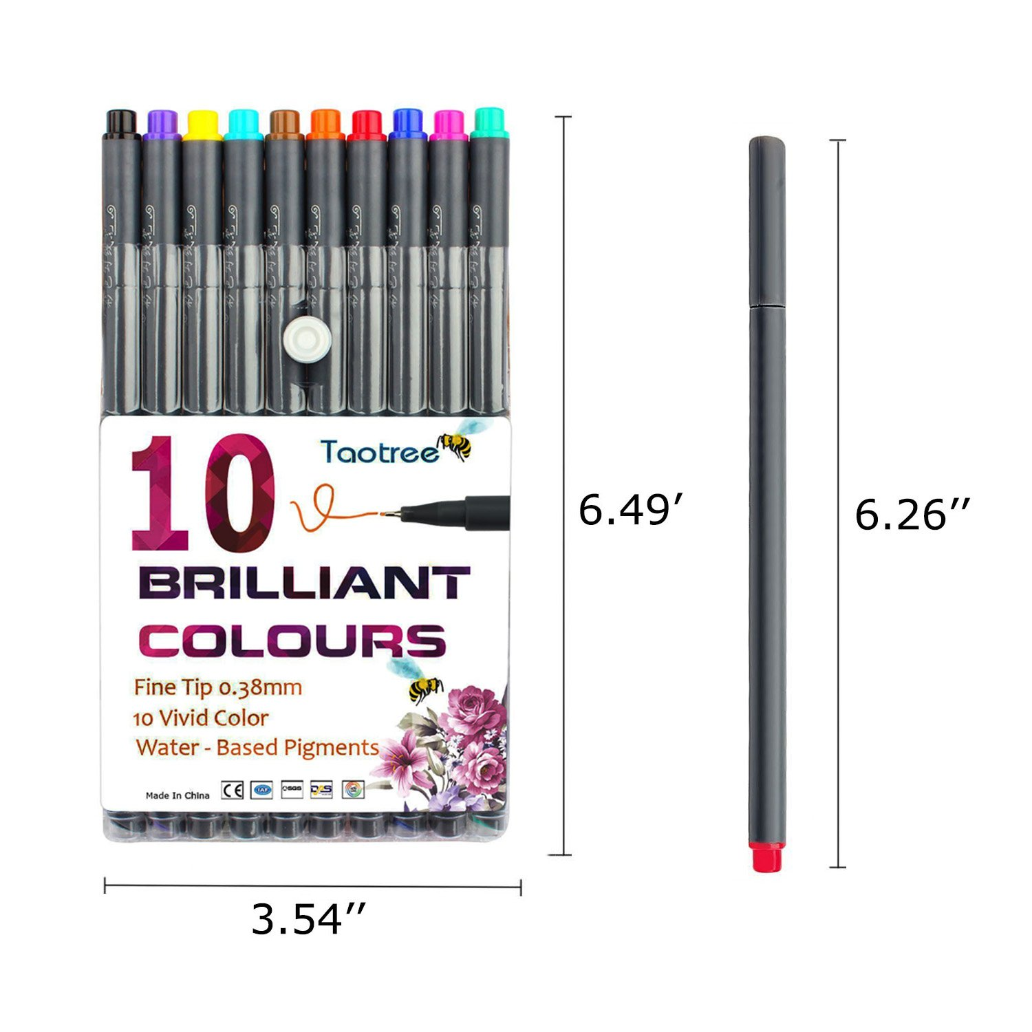 Fineliner Color Pen Set, Taotree 0.38mm Colored Sketch Drawing Pen, Porous Fine Point Markers for Bullet Journaling and Note Taking, 10 Assorted Colors by Taotree (Image #2)