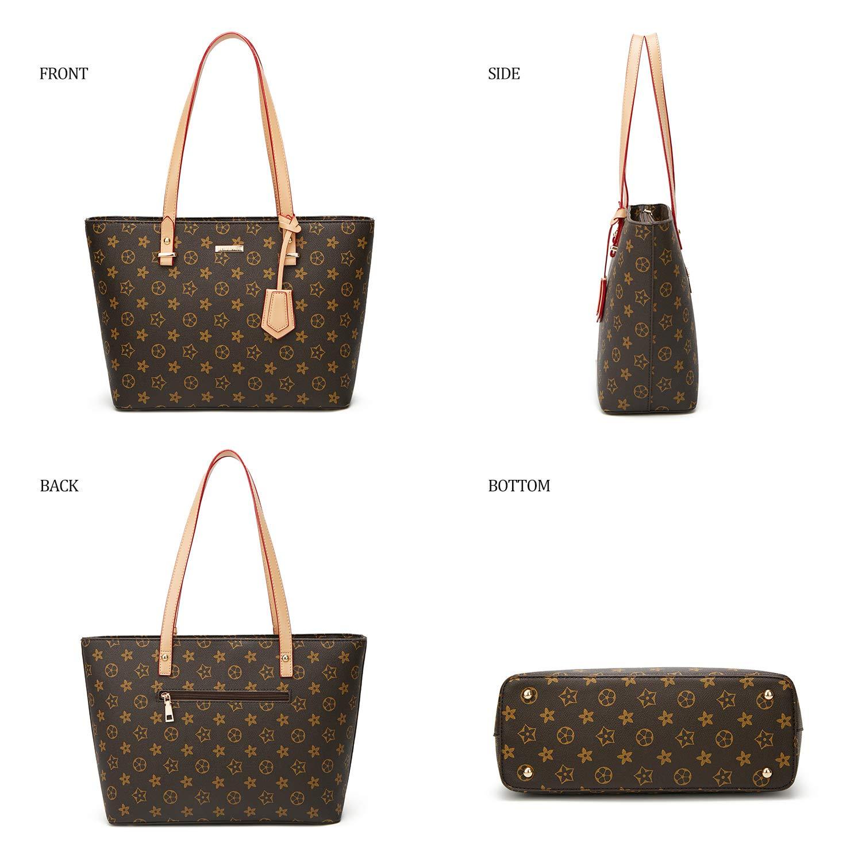 ELIMPAUL Women Fashion Handbags Tote Bag Shoulder Bag Top Handle Satchel Purse Set 4pcs (Black-3) by ELIMPAUL (Image #2)