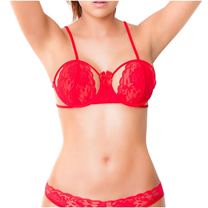 Amawi 0606 Women Sexy Lace Latuta Bra | Ropa Interior Femenina Colombiana Red M