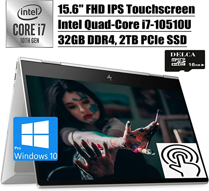 "HP Envy x360 2020 Premium 2 in 1 Laptop Computer I 15.6""FHD IPS Touchscreen I 10th Gen Intel Quad-Core i7-10510U I 32GB DDR4 2TB PCIe SSD I B&O Fingerprint Win 10 Pro + Delca 16GB Micro SD Card"