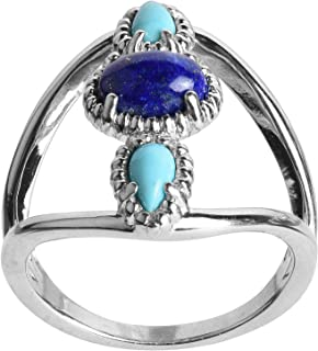 product image for Sterling Silver Lapis & Turquoise 3-Stone Ring