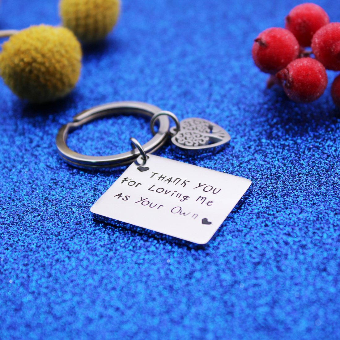 Keychain 1 BRBAM Thank You for Loving Me As Your Own Engraved Heart Pendant Keychain Gift for Step Family Members and Father//Mother in Law