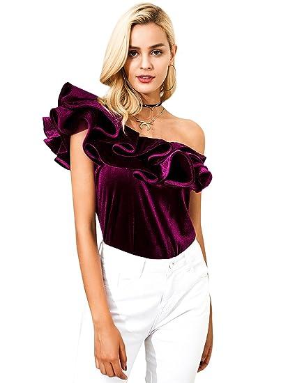 df19892b32efa Simplee Women s Sexy One Shoulder Ruffle Party Velvet Tops Blouse Shirt  Burgundy