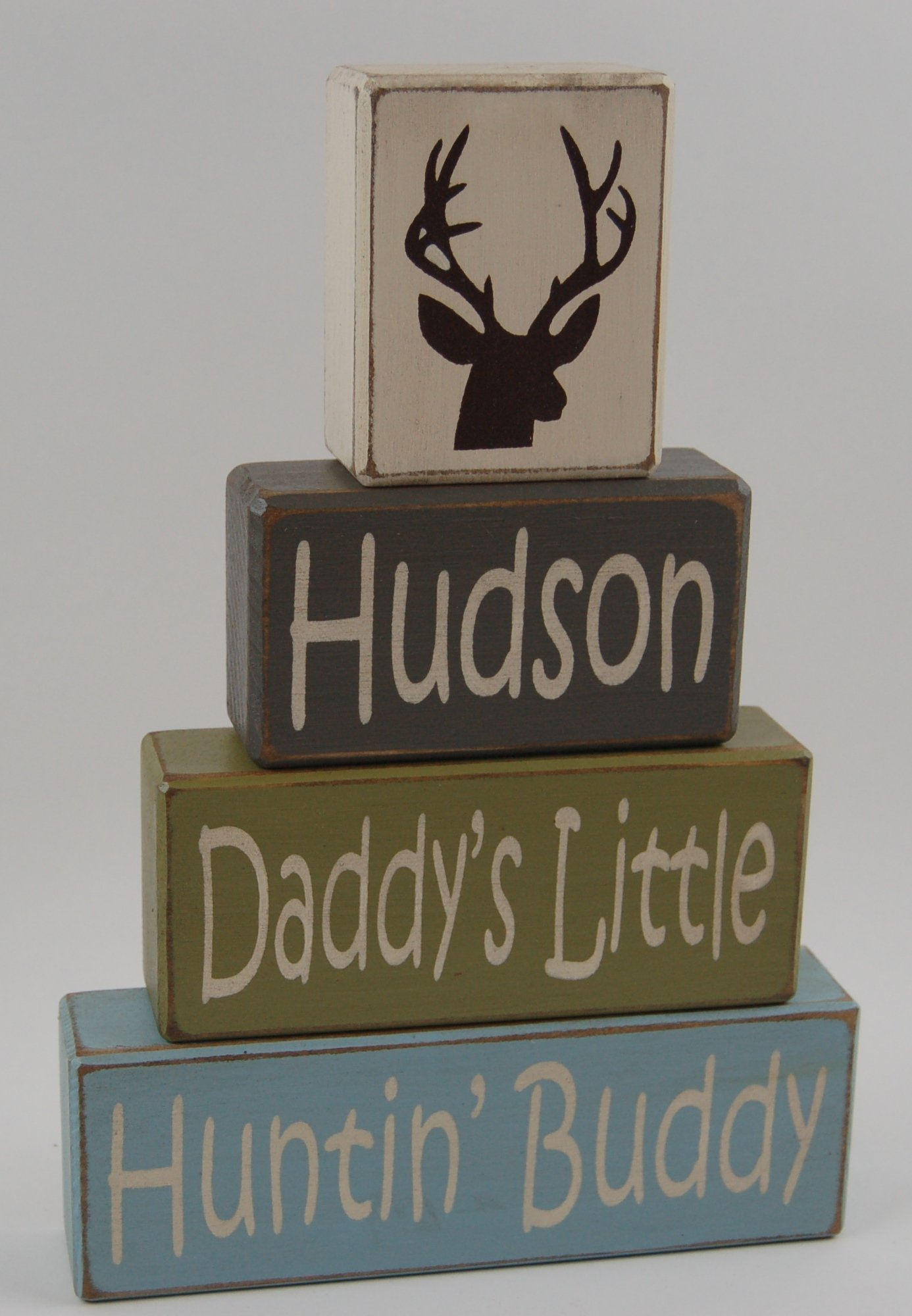 Primitive Country Wood Stacking Sign Blocks-Daddy's Little Hunting Buddy-Elk-Deer-Boys Room Home Decor Hunting Theme Personalized Custom Kid's Name