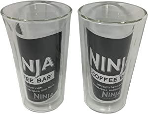 Ninja 12oz Double-Wall Thermo Insulated Tumbler Clear Glass Coffee Tea Cup For Cafe Bar Forte Brew, 2-Pack