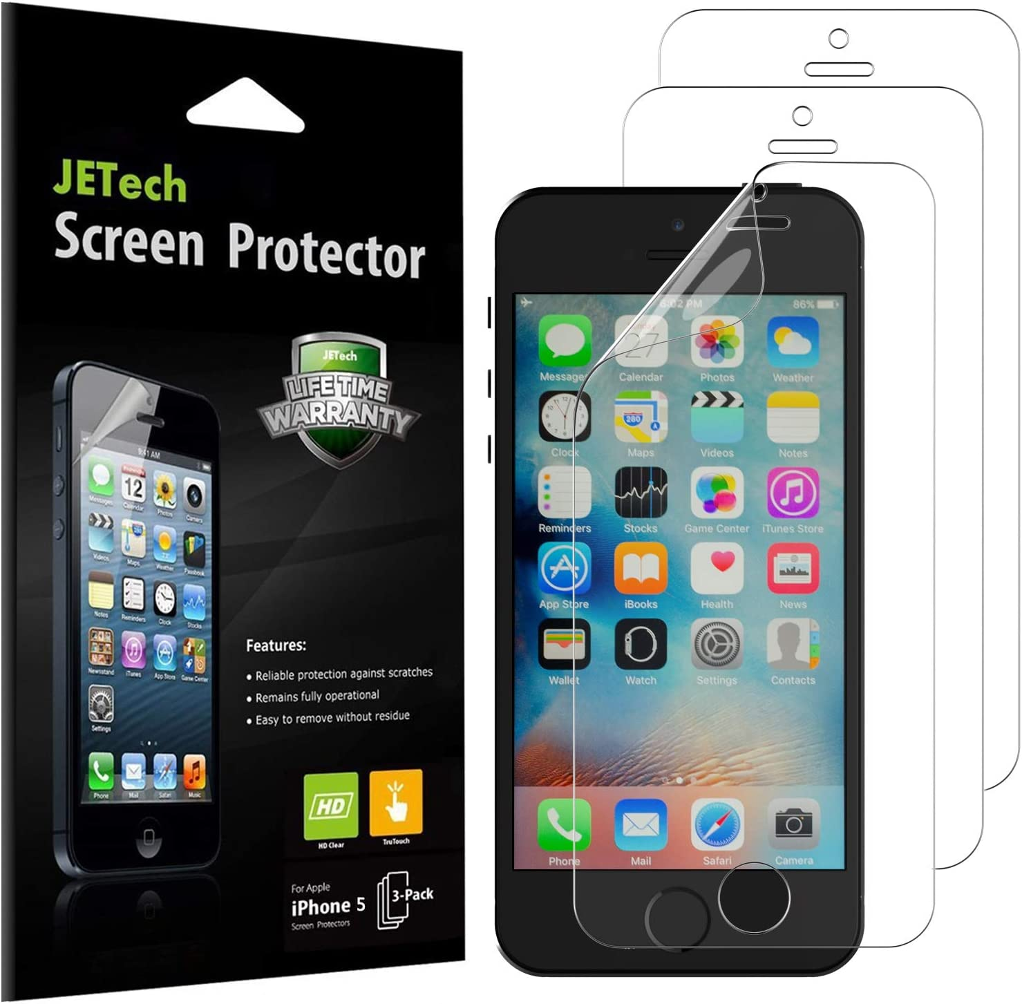 JETech Screen Protector for iPhone SE 5s 5c 5, PET, 3-Pack