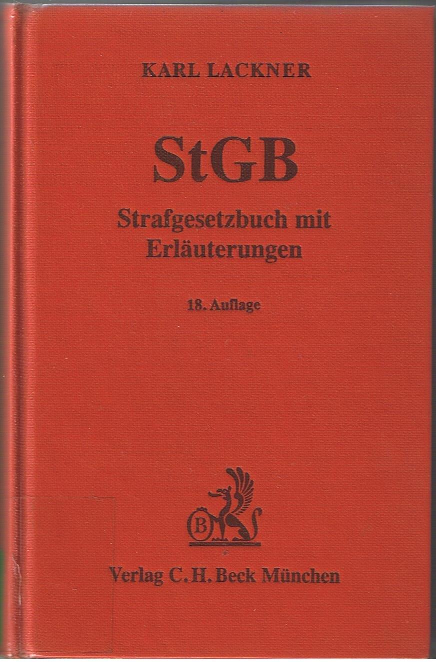 Strafgesetzbuch. Mit Erläuterungen: Amazon.de: Karl Lackner: Bücher