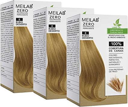 MEILAB - Tinte permanente sin amoniaco - Pack de 3 unidades - Color Rubio claro #8