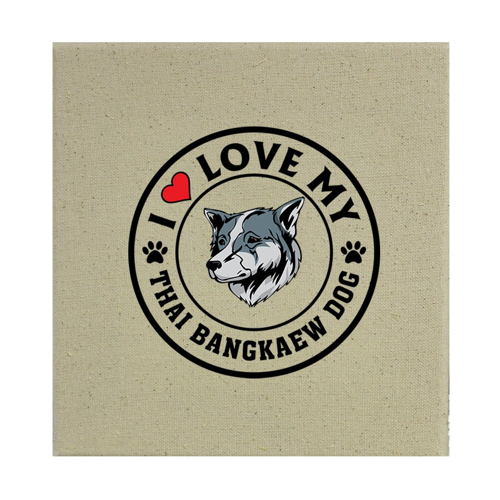 Style in Print Stretched Natural Canvas I Love My Thai Bangkaew Dogdog Style 1 8''X8'' by Style in Print