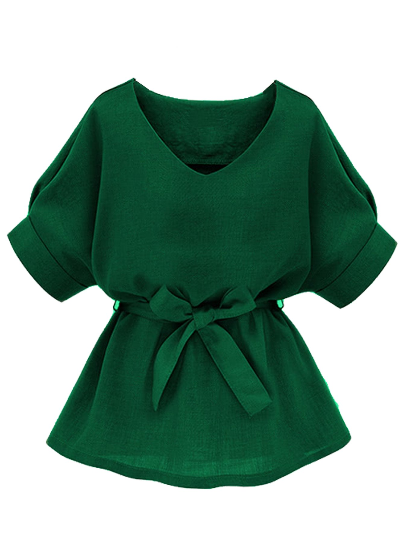 Milumia Womens V Neckline Self Tie Short Sleeve Blouse Tops Green Large