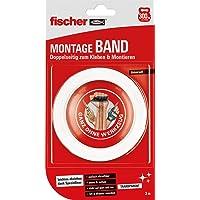 fischer Montageband, dubbelzijdig en sterk plakband in transparant, eenvoudig te gebruiken dankzij speciale lijnen…