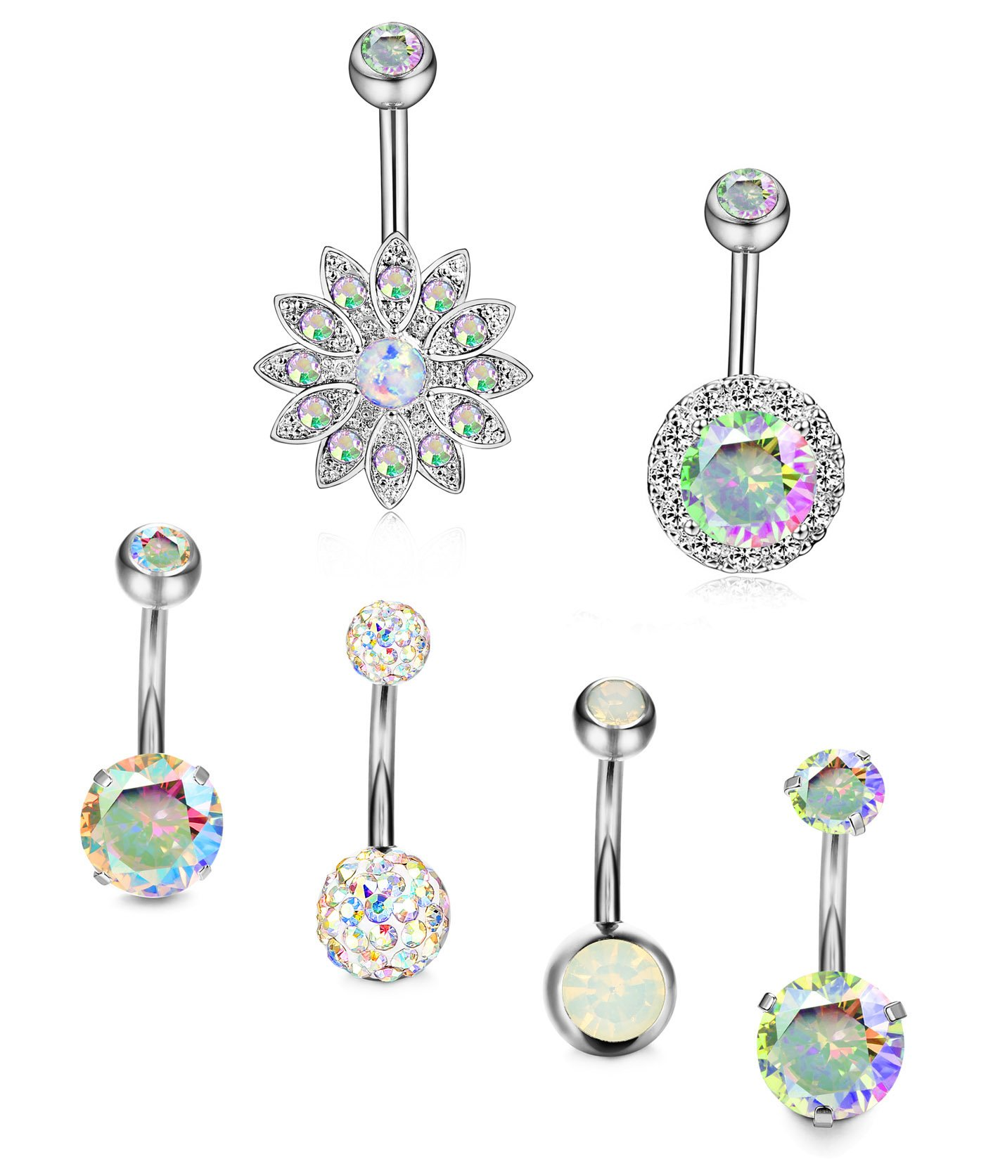 Thunaraz 6Pcs 14G Belly Button Rings Stainless Steel Navel Rings CZ Body Jewelry Created-Opal Piercing Colorful