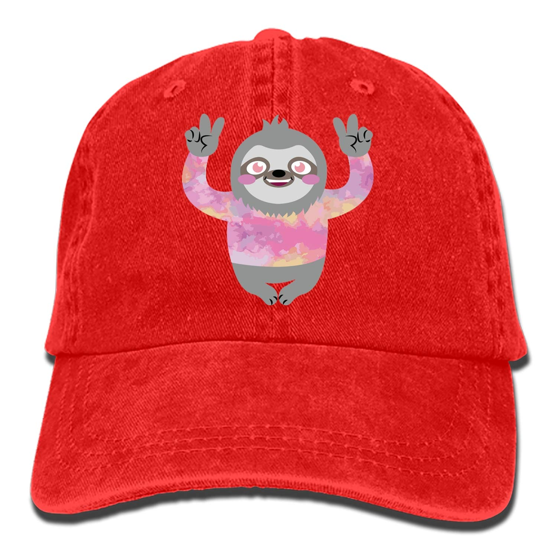 SHUANGRENDE Cute Peace Sloth Adjustable Cowboy Cap Denim Hat for Women and Men