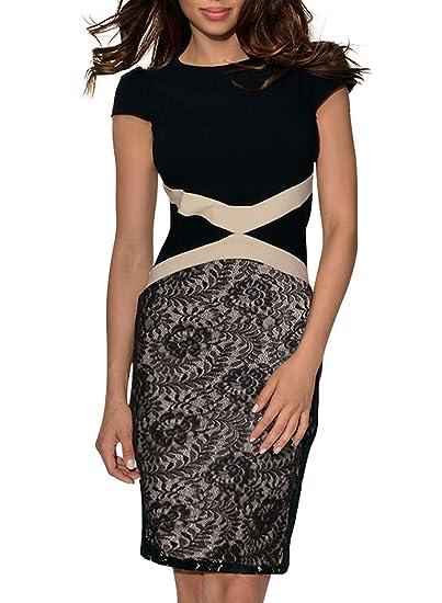 MIUSOL Casual Lavoro Pizzo Coctel Vestito Donna Corta Nero X-Large   Amazon.it  Abbigliamento 82b95b450bf