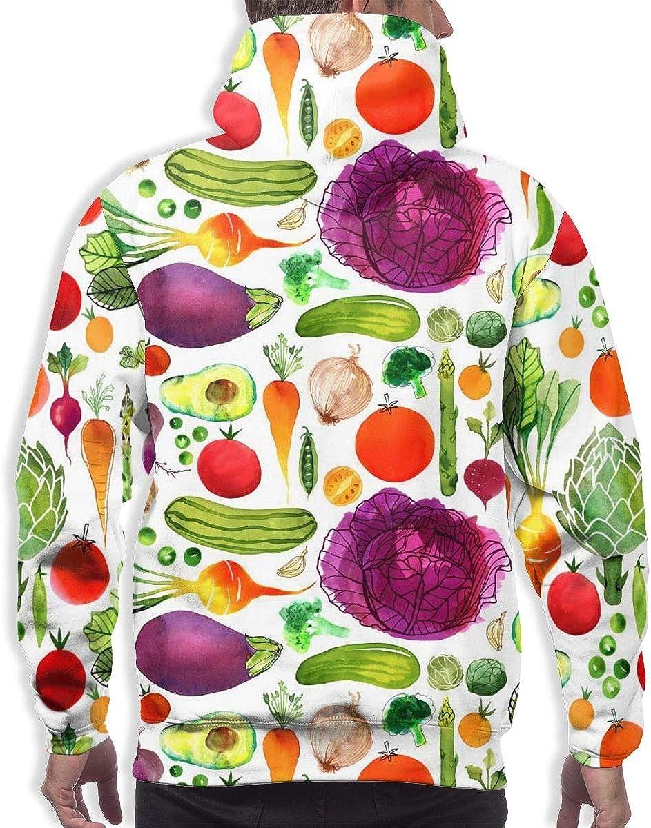 Mens Autumn Winter Long Sleeve Hoodies Vegatables Hooded Pockets Sweatshirt Tracksuits