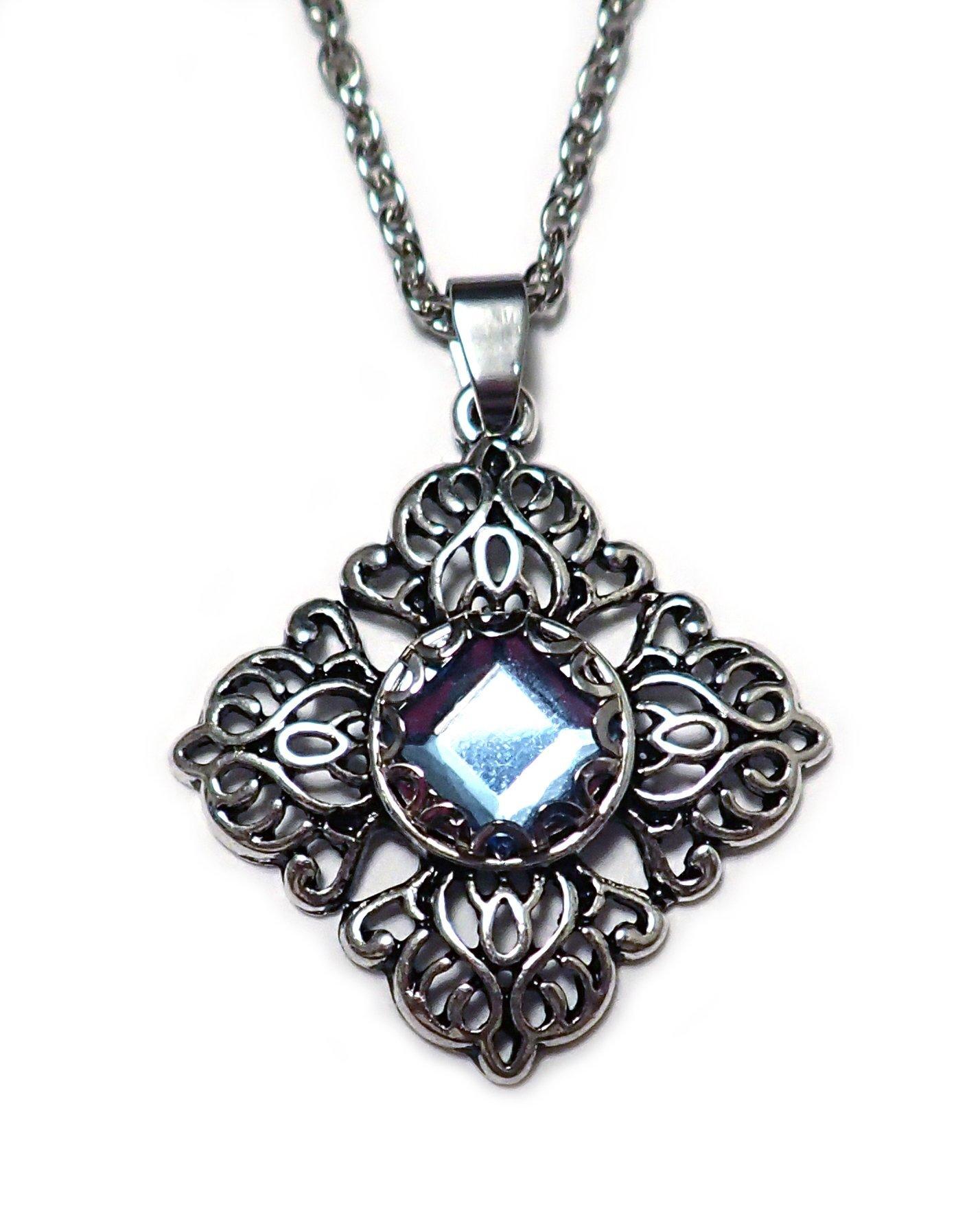Silver Filigree Pendant Light Blue Rhinestone