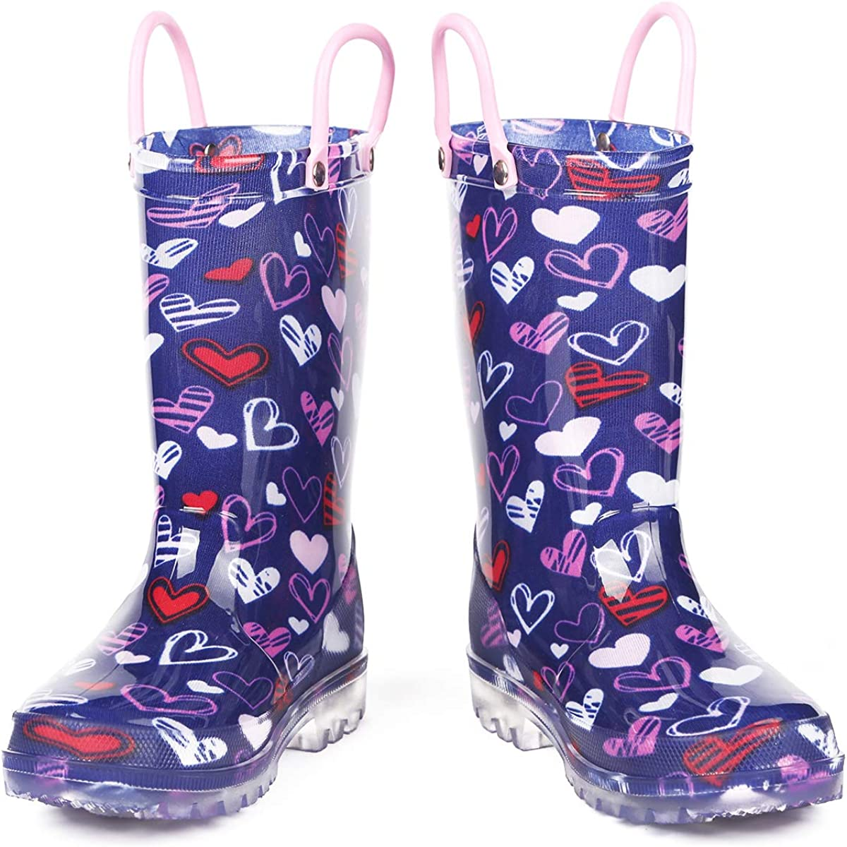 K KomForme Toddler Light Up Rain Boots Patterns and Glitter with Handles