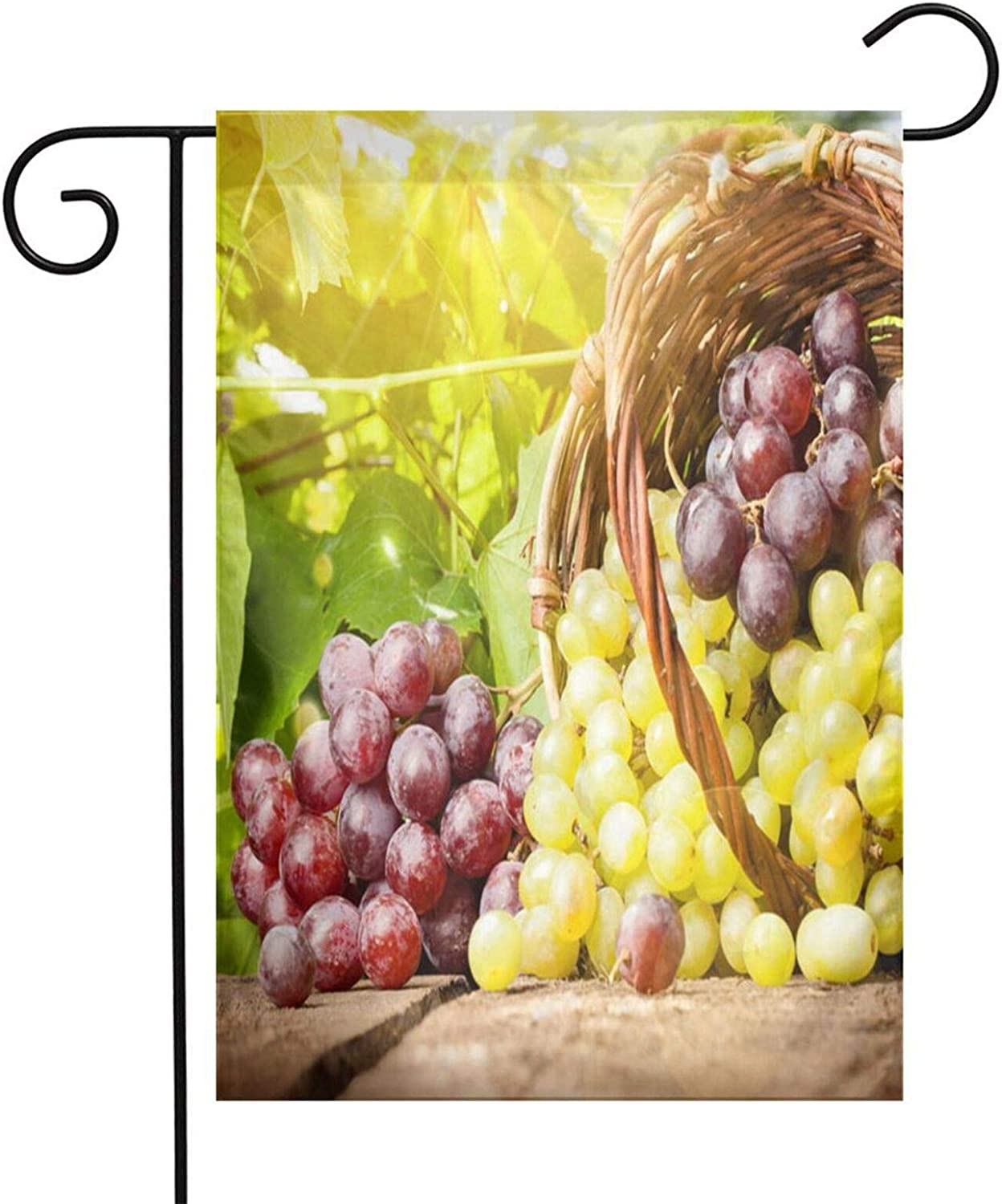 HHTZTCL Purple Green Grape Sunshine Garden Flags 12 x 18 Inch Holiday Yard Outdoor House Flag Banner for Party Home Decorations
