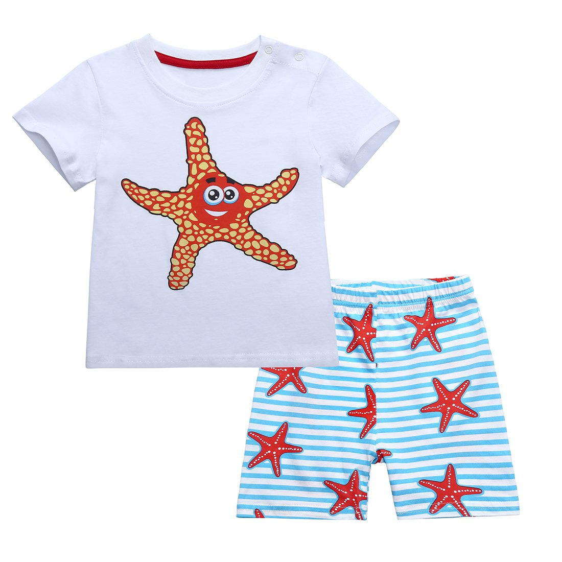 Neeseelily Baby Boys Girl's Summer Cute Sleeve Short T-Shirt and Shorts 2pcs Outfit Set