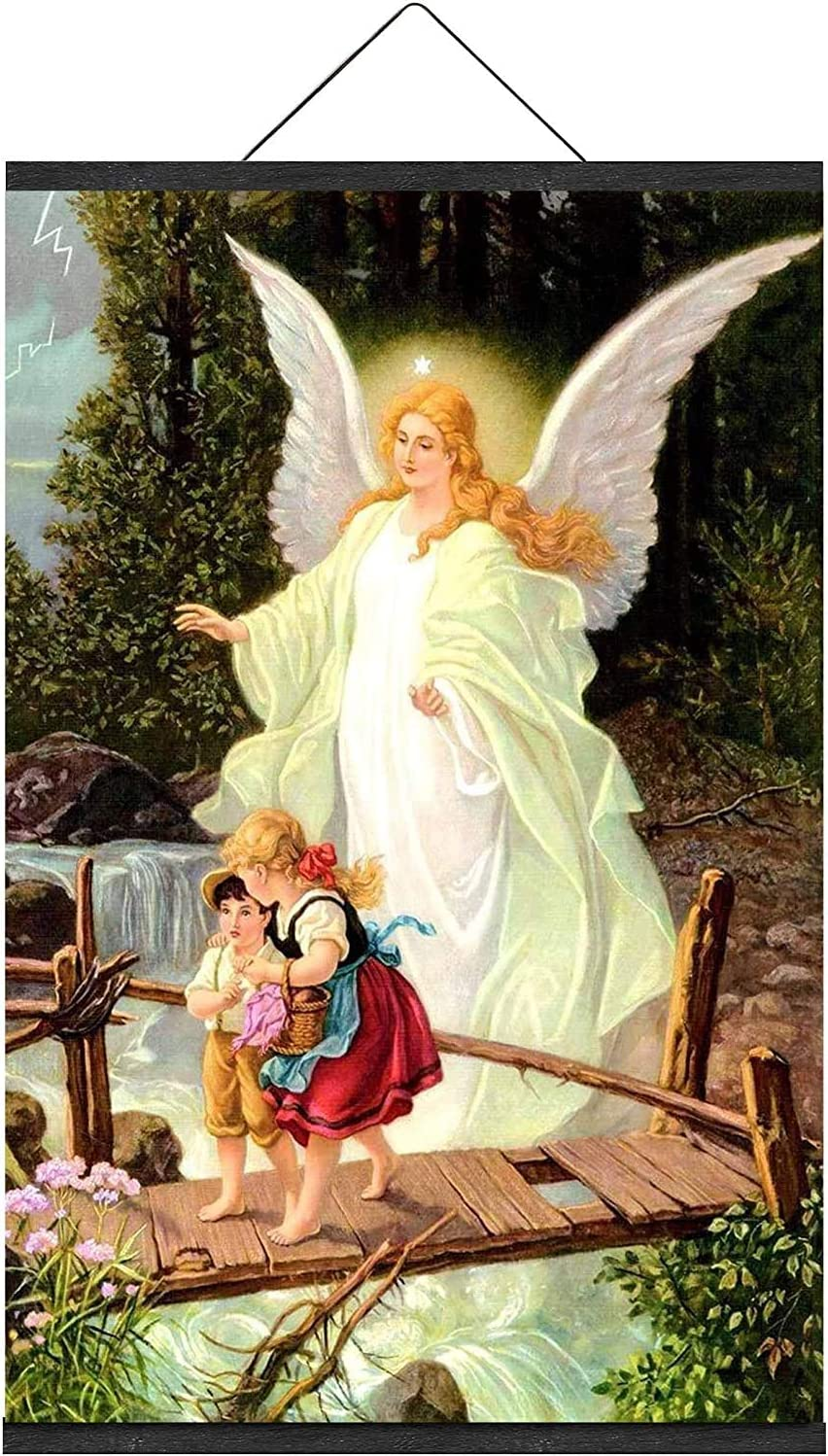 Guardian Angel with Children on Bridge Painting Catholic Religious Christian Holy Wall Art for Kids Children Home Room Decor With Poster Frame Magnetic Light Wood Hanger (12 x 18 Inch)