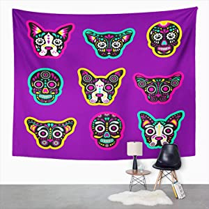 Suklly Tapestry Wall Hanging Patch Badges Sugar Skull Dog and Cat Very Large Home Decor Polyester Living Bedroom Dorm 50 X 60 Inches Picnic Mat Beach Towel Bed Cover