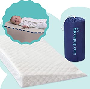 hiccapop Crib Wedge for Babies with Deluxe Soft Plush Water-Resistant Cover | Baby Wedge for Cribs with Soft Fabric Cover | Roll and Go for Travel