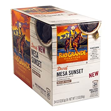 Rio Grande Roasters Decaf Mesa Sunset Single Serve K-Cup, 24 Count (Compatible with 2.0...