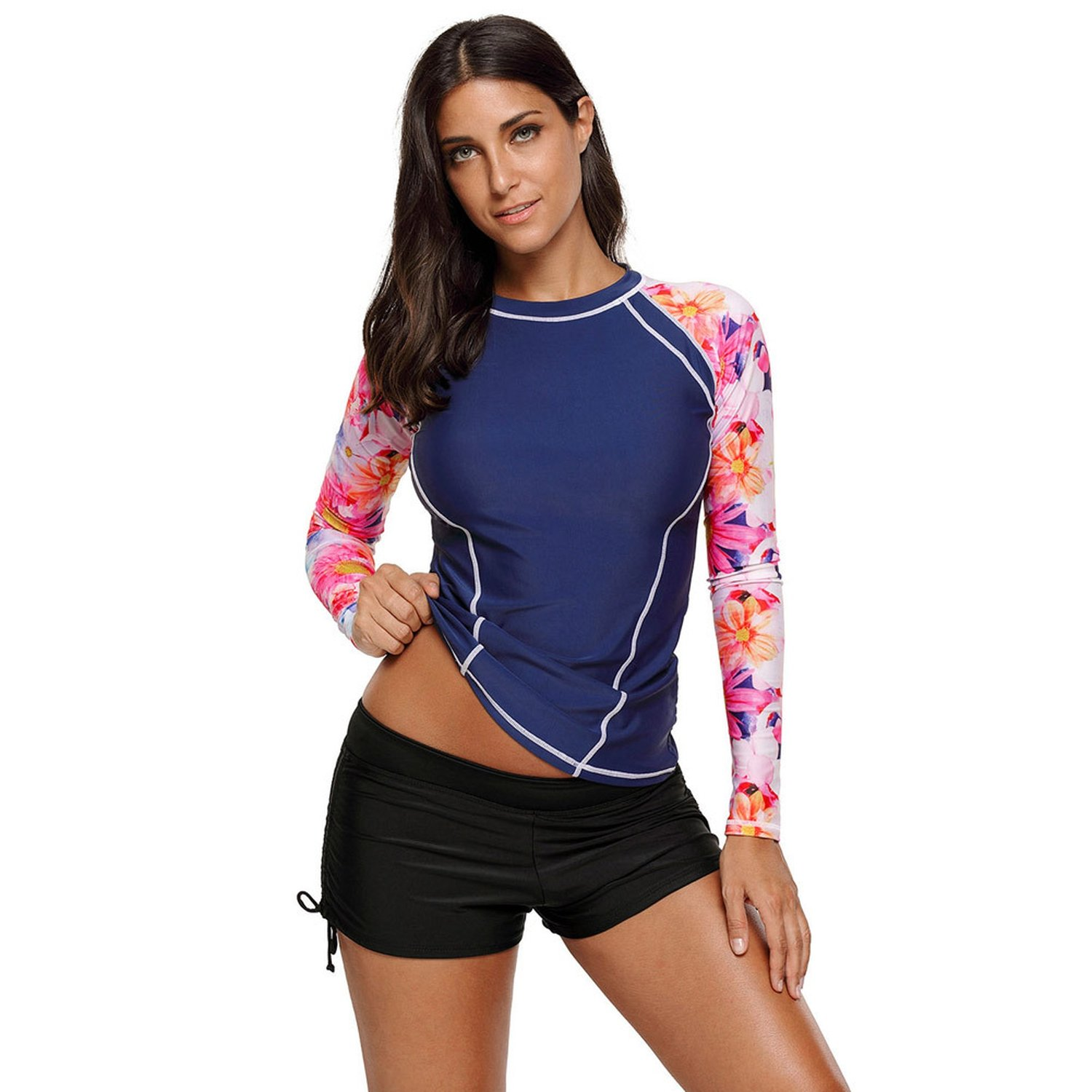 Yntmerry Swimsuits New Split Swimsuit Print One-Piece Shirt Large Yard Long-Sleeved Swimsuit 410453