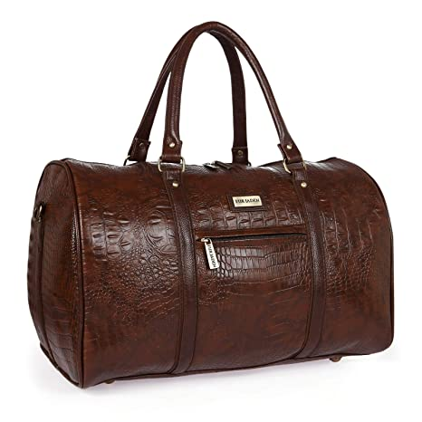 47791d1653 Fur Jaden Brown Textured Leatherette Stylish   Spacious Weekender Duffle Bag  for Travel for Men and Women  Amazon.in  Bags