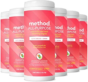 Method All-Purpose Cleaning Wipes, Pink Grapefruit, 30 Count (Pack of 6)
