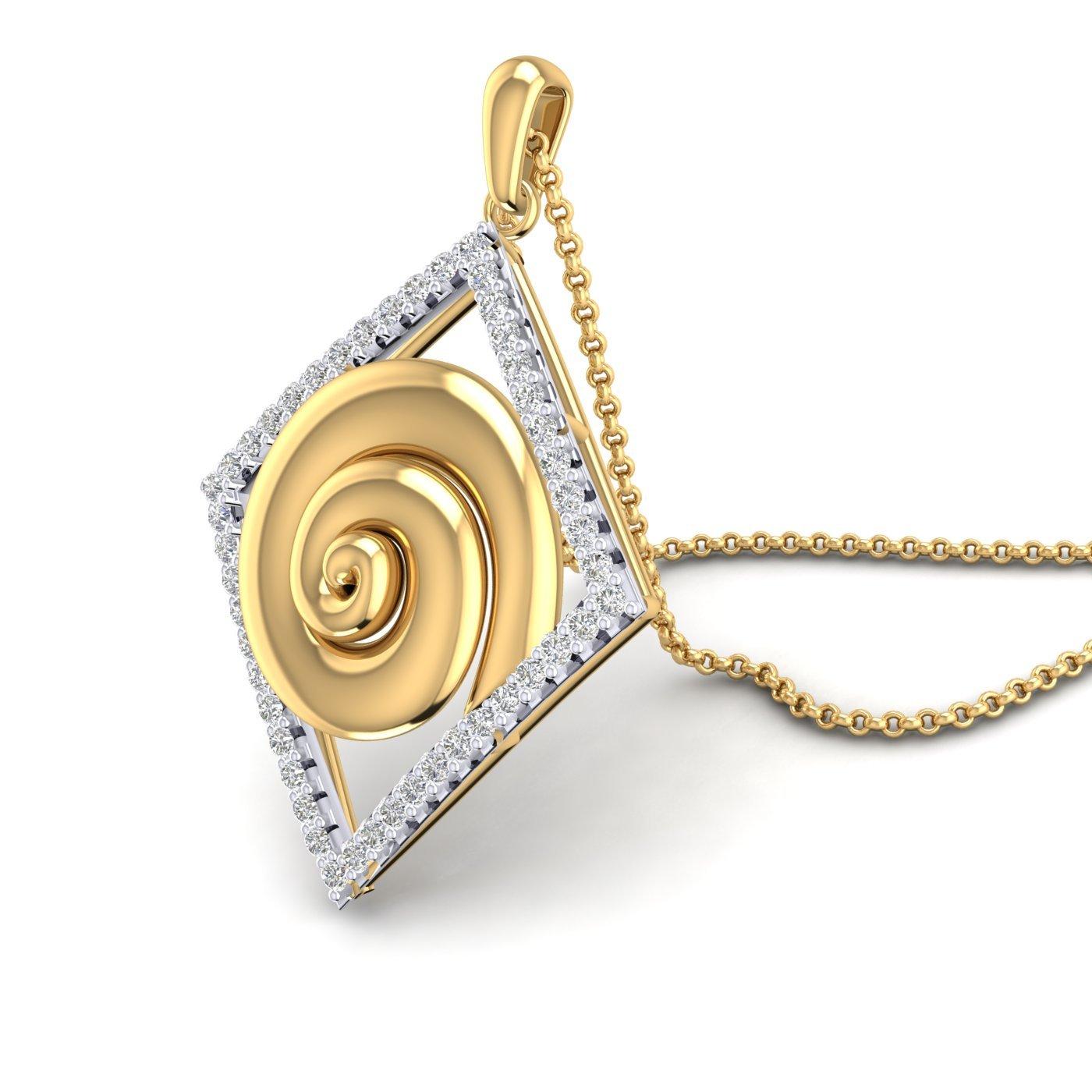 14K Yellow Gold Plated Cubic Zirconia Kite Shape Swirl Design Pendant Fashion Jewelry Summer Sale