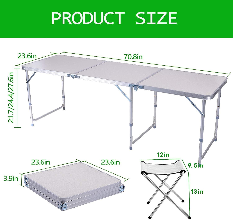 Mesa Plegable portátil 1, 82 m Ajustable Plegable para Camping ...