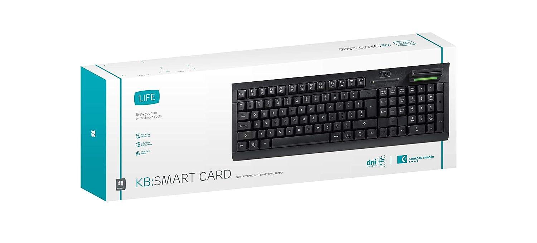 1Life KB Smart Card - Teclado con Card Reader USB, Negro
