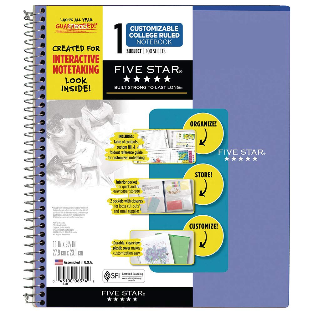 12 Pack 11 x 8-1//2 1 Subject Customizable 38595 Five Star Interactive Notetaking College Ruled Spiral Notebooks 100 Sheets