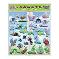 Insects & Bugs (by Incredible Gel and Window Clings) - Reusable Foam Puffy Sticker Window Clings for Kids and Toddlers - Ladybugs, Butterflies and More