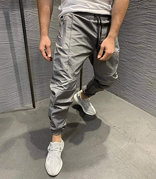 JUSTTIME Muscle Fitness Brothers Pantalones de Chándal Reflectante ...
