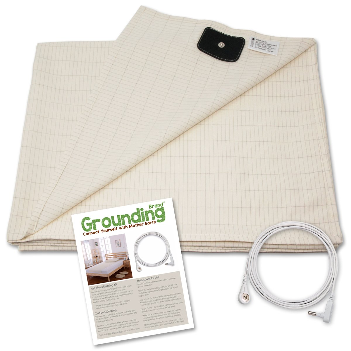 Grounding Brand Flat Twin Size Sheet with Grounding Connection Cable, 400TC Conductive Mat with Pure Silver Thread for Better Sleep, Natural Wellness and Healthy Earth Energy, Beige