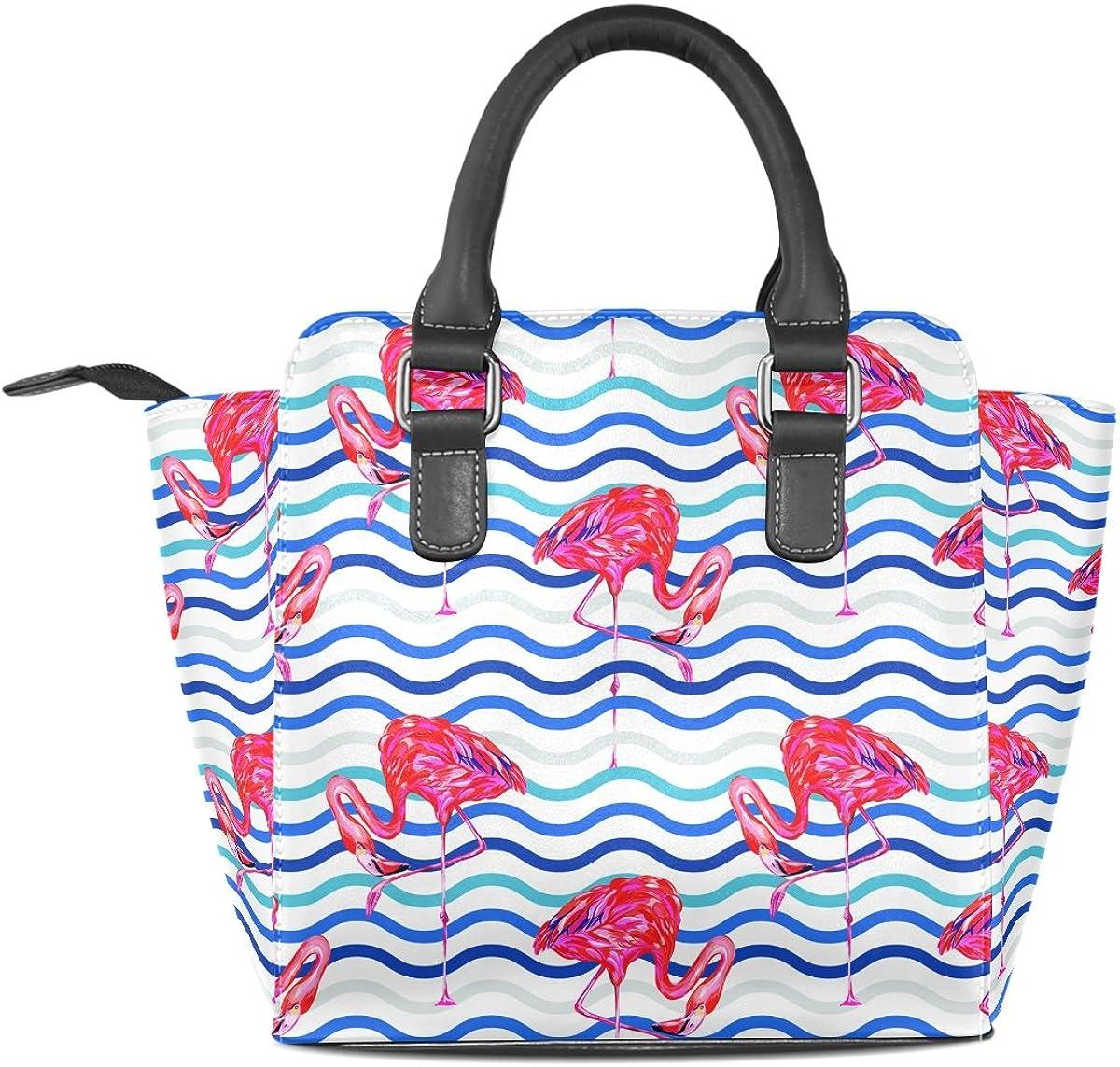Fresh Flamingos Leather Handbags Purses Shoulder Tote Satchel Bags Womens
