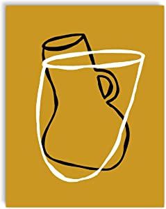 Printsmo, Bowl and Vase, Minimalist Modern Abstract Art Print Poster, Contemporary Wall Art for Home Decor 11x14 inches, Unframed (Gold)
