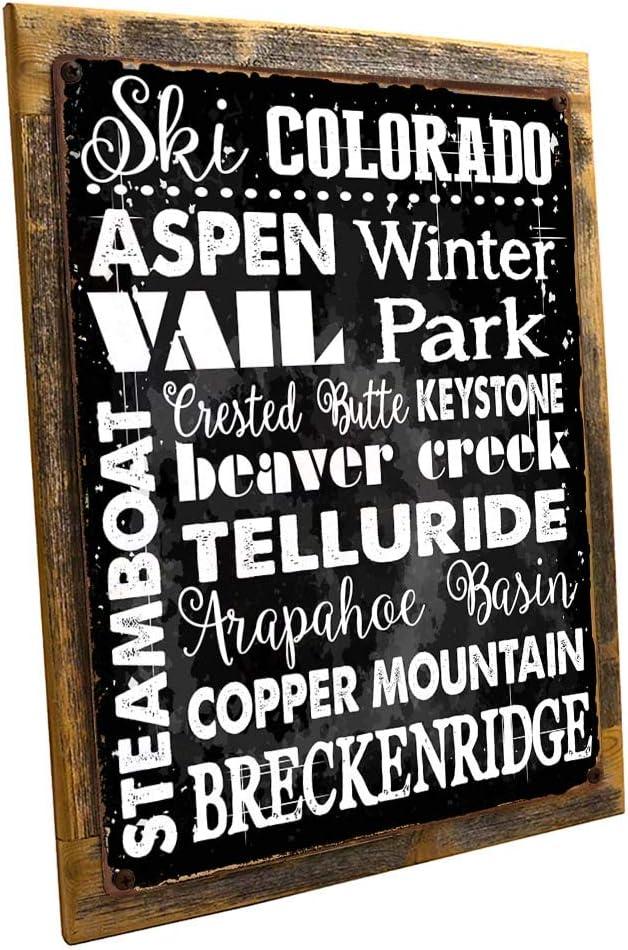 OMSC Wood-Framed Ski Colorado Metal Sign, Sport, Winter, Mountain, Cabin, Lodge on Reclaimed, Rustic Wood