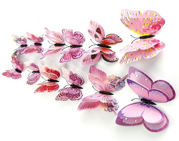 Amazon.com: DaGou 12 mariposas en 3D para pared ...