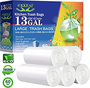 OKKEAI Biodegradable Garbage Bag 13 Gallon Kitchen Trash Recycled Bags for Office,Bathroom, Kitchen,Home,White,60 Count Fit 10,11,12Gal 45-50 Liter