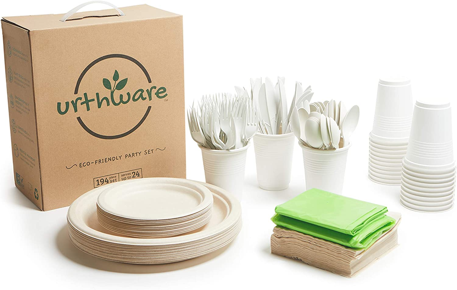 Urthware Compostable Plates Set. 194PC Eco Friendly Plates Disposable Dessert, Biodegradable Cups, Compostable Cutlery with Spoons, Party Napkins. Bagasse Heavy Duty Paper Plates 10 Inch and