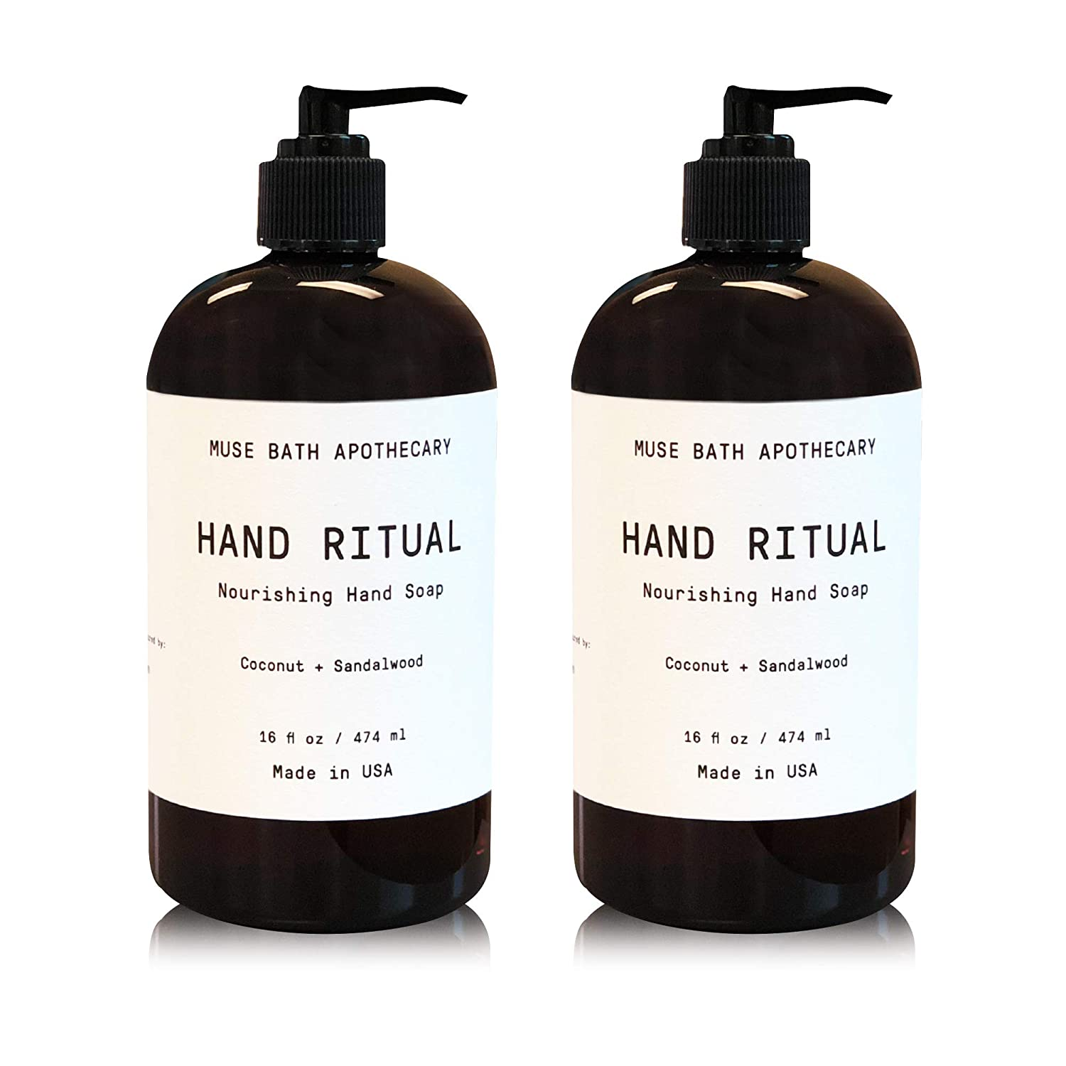 Muse Bath Apothecary Hand Ritual - Aromatic and Nourishing Hand Soap, 16 oz, Infused with Natural Essential Oils - Coconut + Sandalwood, 2 Pack
