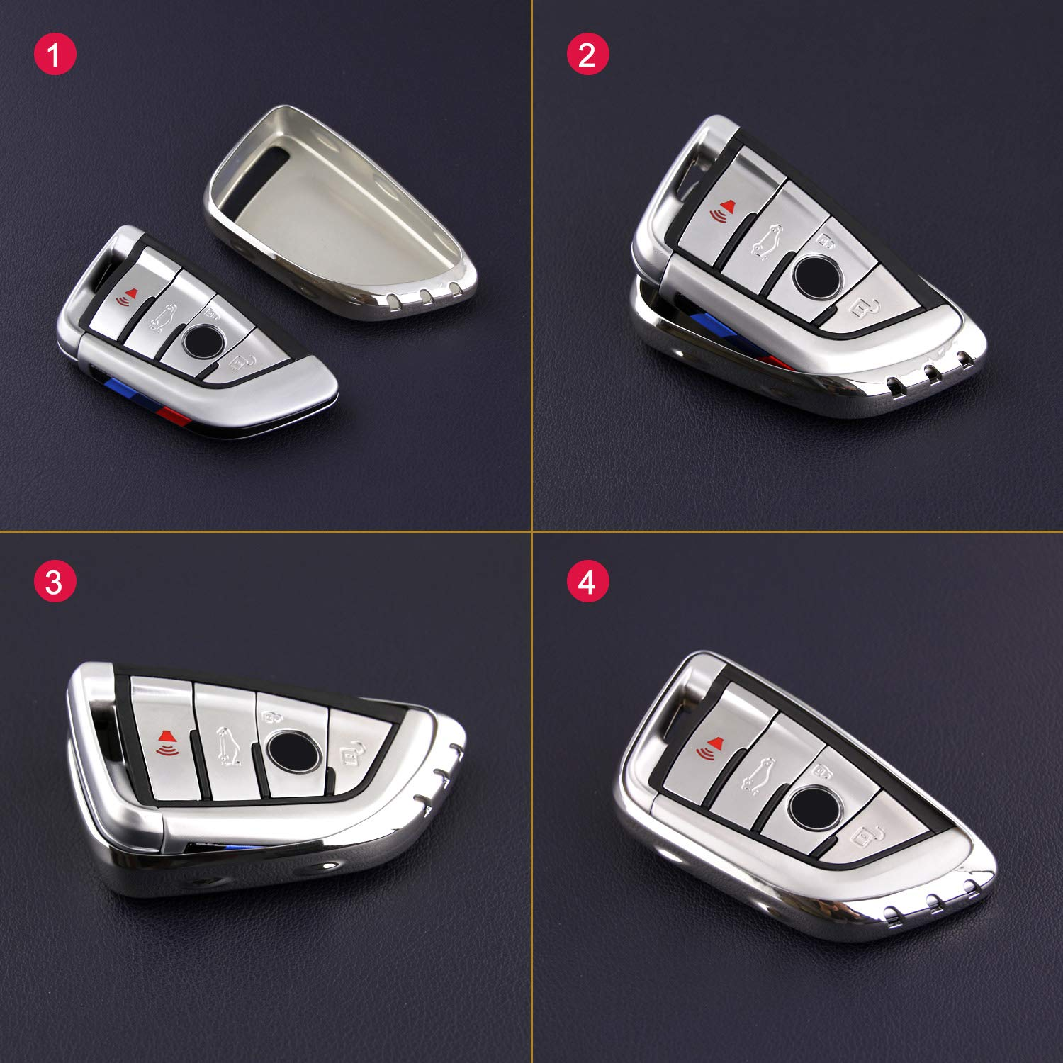 Key Case Cover for BMW 2 3 4 5 6 7 Series X3 X4 M2 M3 M4 M5 M6 Accessories Silver Fob Holder Keychain F22 F30 F36 F10 F12 F01 F25 F26 F87 F80 F82